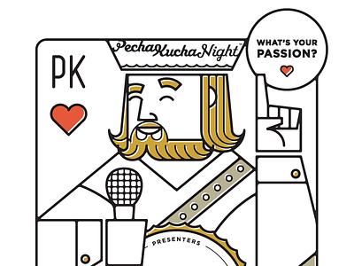 Pecha Kucha poster king illustration playing card pecha kucha passion