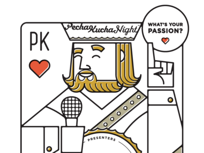 Pecha Kucha poster king illustration playing card pecha kucha passion