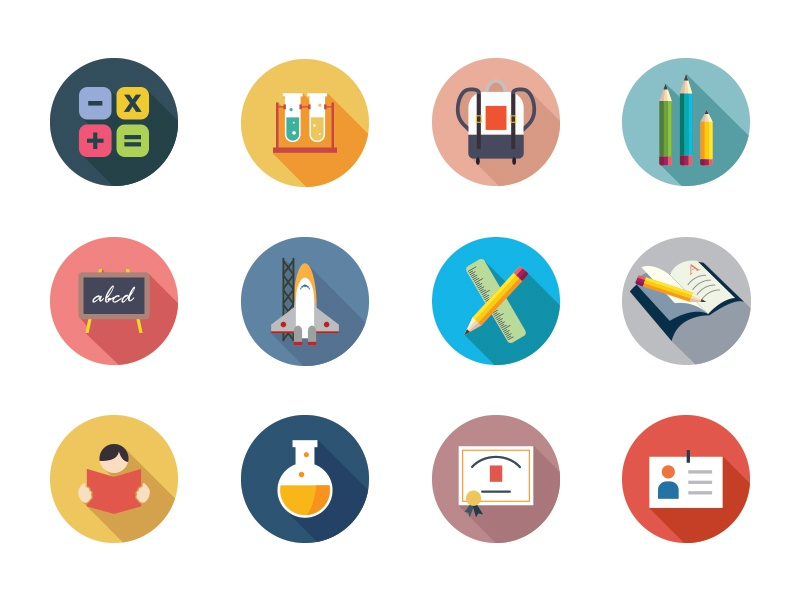 175 Education Flat Color Icon Set By Creative Stall Dribbble