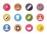 100+ Medical Flat Color Icon Set