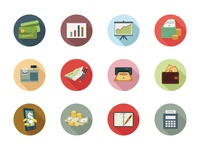 125 Financial Flat Colored Icon Set