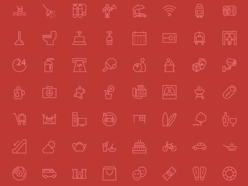 250 Hotel and Restaurant Line Icons hotel restaurant motal icons line outline stroke vectors illustrations