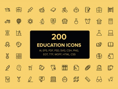 200 Education and School Icons education study school icons vectors outline stroke line icons set
