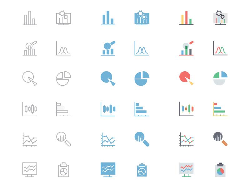Data Analytics Icons data analytics icons thin icons filled icons colored icons flat icons graphs charts vector icons big data data charts