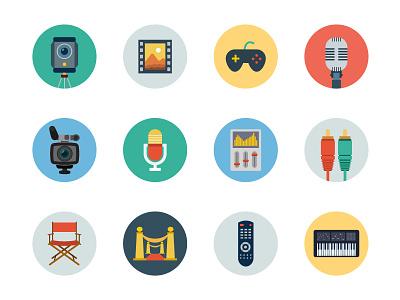150+ Flat Multimedia Vector Icons icon design illustrations vector icons piano remote mic music media cinema multimedia flat icons