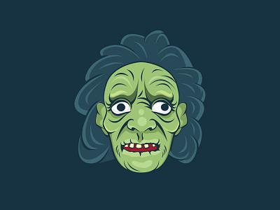 Zombie Old Women Avatar Illustration avatar face halloween illustration design illustration old lady women angry women zombie