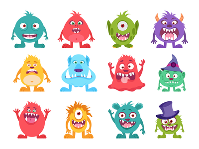 Monsters Characters happy angry character design monsters illustration characters monster notification alert 404 bug error