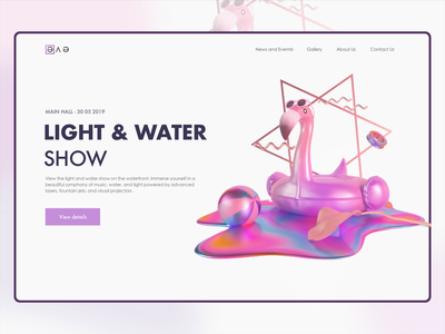 Light & Water Show dailyui flamingo color light event show desktop inspiration gradient 3d logo illustration concept website webdesign ux ui