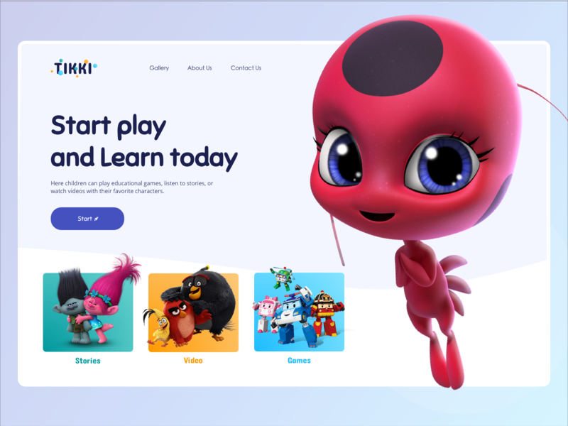 Service for children play gradient color character education school children kids film tikki cartoon logo 3d desktop dailyui concept website webdesign ux ui