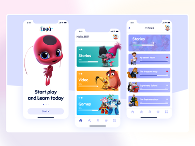 Child education App Design learning cartoon illustration play education kids children cartoon mobile apple app gradient color 3d desktop dailyui concept website webdesign ux ui