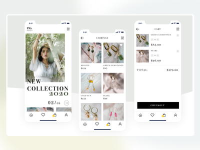 Jewelry fashion cart mobile e-comerce shop jewelry website app gradient desktop dailyui concept webdesign ux ui