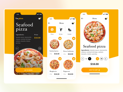 Pizza delivery shopping app food pizza delivery mobile shop gradient color app desktop dailyui concept ux ui