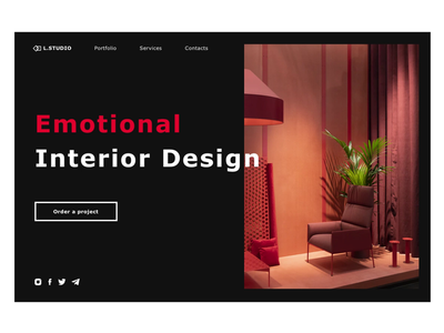 Emotional Interior design principle video animation concept furniture home interior design logo website desktop dailyui ux ui