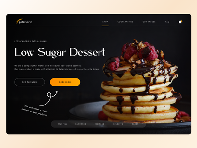 Bakery shop dessert sweet dark black sugar pancake cake food bakery shop design logo webdesign website desktop ui ux dailyui concept
