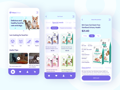 Pet Shop App blue purple pet food bird brit pet pets animal dog cat app feed animal feed food store shop design ux ui concept