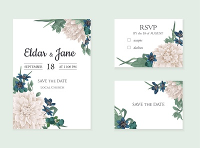 Invitation card with  chrysanthemums flowers