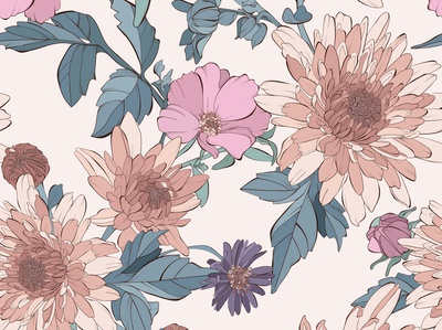 Seamless pattern with autumn flowers
