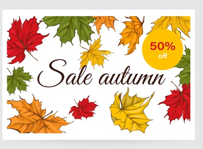 Card for sale with autumn leaves