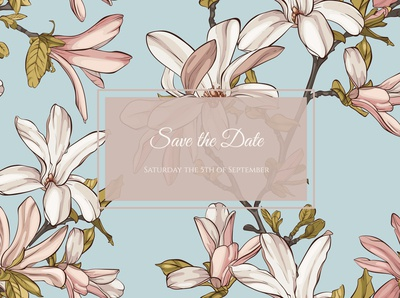 Card with magnolia flowers and frame for text