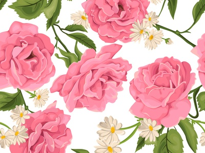Seamless pattern, bouquet with chamomiles and roses