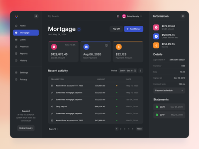 M - Dashboard components app design side menu buttons cards table modern loans ux banking finance theme dark minimal colored ui web dashboard mortgage