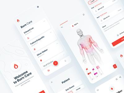 Burn Care minimal clean skincare cure therapist burn healthcare 3d interaction design mobile app ios ux ui