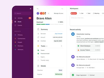 BA - Dashboard events tasks projects management contacts activity finance saas dashboard crm webdesign desktop app ui ux interaction design