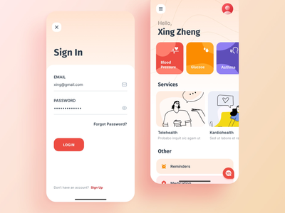 KFit blush components health services ios icons colored signin modern tracker healthcare interaction illustration cards mobile app ui ux app