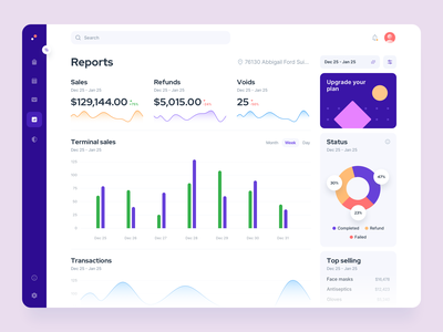 T - Dashboard design website desktop navigation reports trends modern minimal colorful analytics charts piechart cards grid sales finance dashboad interaction ux ui