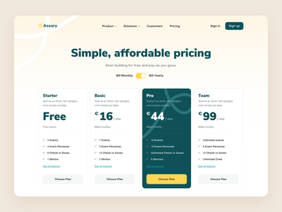 Assary Pricing branding events colorful planning managment table pricing table webdesign design ui ux