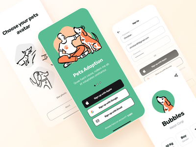 Pets app app concept animals ux ui mobile illustration sign up dogs pet adoption minimal app