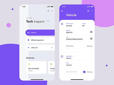 Tech Inspect automotive repair android ios ux ui mobile app mechanic car inspection
