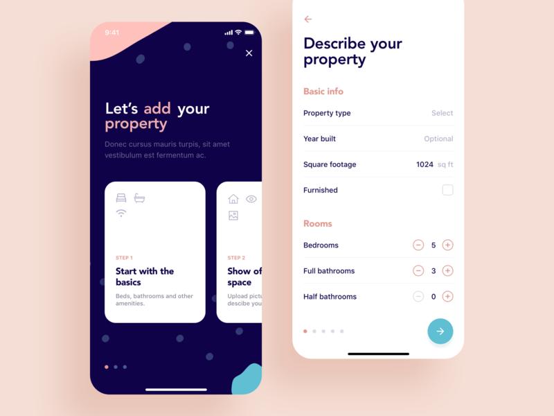Property Rental real estate house tenants rental leasing agent interaction navigation mobile app design ux ui ios