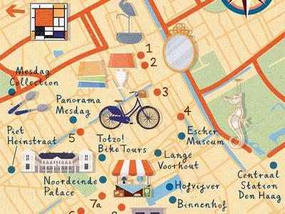 Homes & Antiques - The Hague map art design illustration map netherlands the hague antiques shopping