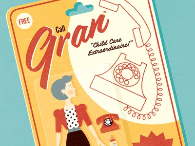 You magazine - Granny or Nanny? typography packaging illustration art design digital toy action figure retro granparents children childcare family editorial magazine text