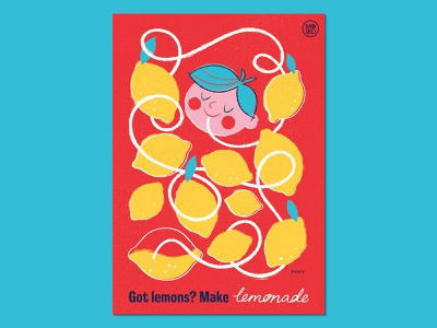 "Ministry of Optimistic Directives - ""Got Lemons?"" licensing typography logo blue yellow red public information advertising communication positivity optimism lemons kids propaganda poster procreate design illustration"