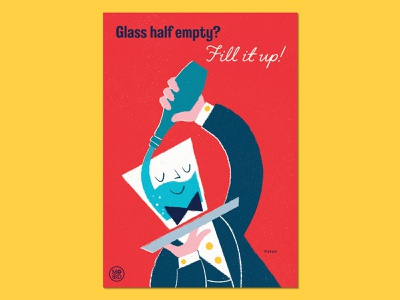 "Ministry of Optimistic Directives - ""Glass Half Empty?"" licensing hand lettering typography retro procreate propaganda advertising poster art poster design water waiter glass positivity optimism poster design illustration"