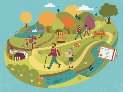 D&L Trail landscape animals pennsylvania cycling hiking river buildings trees park infographic trail wildlife nature people design illustration