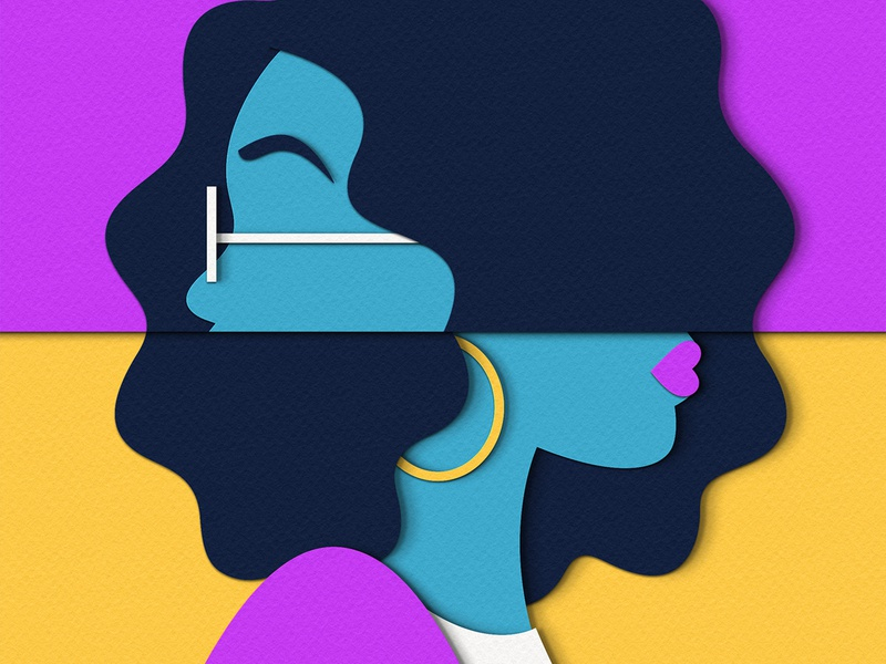 Direction Part II woman publishing psychology profile people digital papercut paper craft illustration editorial direction design decisions advertising