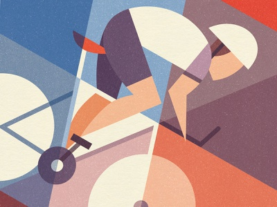 Freewheeling minimalist abstract geometric freewheel downhill race bicycle bike cycling cyclist art design illustration