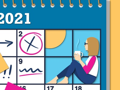 A Window flat illustration flat 2021 coffee window schedule home learning wfh working from home working planning busy calendar people woman art editorial design illustration