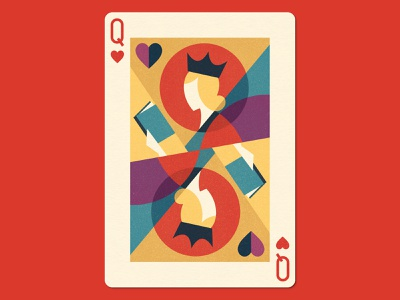 The Queen of Books woman minimalist geometric love queen of hearts heart queen publishing reading playing card book illustration