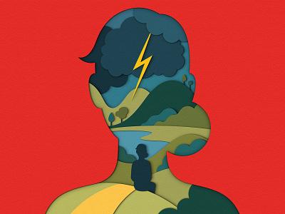 Scientific American - The Brain Electric silhouette landscape cloud lightning storm consciousness neuroscience scientific american science brain design magazine editorial illustration