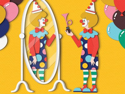 The Planner - Dress to Impress paper craft papercut professional wfh workplace balloons clothing outfit clothes fashion circus clown people woman magazine editorial design illustration