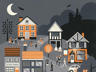 Apple Bobbin's - Halloween (Part II) moon people spooky village scene buildings houses packaging branding characters illustration halloween