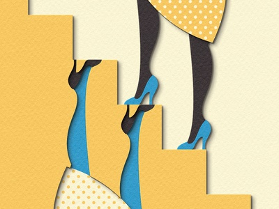 Up and Down digital papercraft papercut paper craft paper art paper cut paper illustration