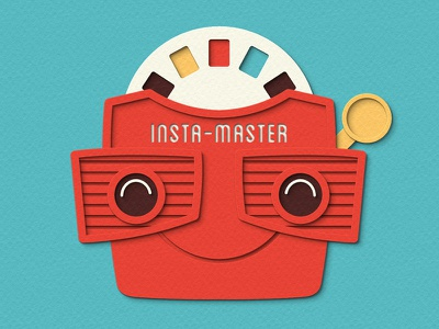 Insta-Master instagram viewmaster retro digital papercraft papercut paper craft paper art paper cut paper illustration