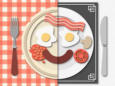 Hotel Breakfast face hotel breakfast food digital papercraft papercut paper craft paper art paper cut paper illustration
