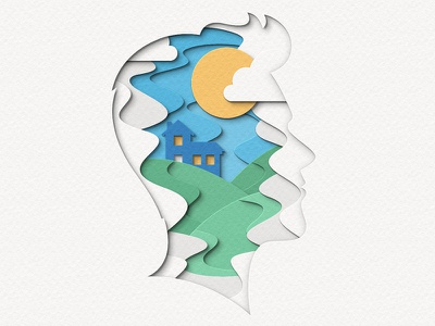 Peace of Mind house landscape silhouette head digital papercraft papercut paper craft paper art paper cut paper illustration
