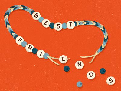 The Girlfriend - Best Friend Breakup relationships bff friends breakup bracelet friendship design editorial illustration